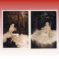 Lilies and Orchids by French artist Louis Icart: Two Vintage 1987 Postcards