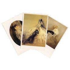 Louis Icart Trio of Postcards Artist Signed Japanese Issue from 1987