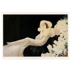 Parfum de Fleurs by Louis Icart Vintage 1987 Reproduction Postcard