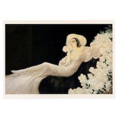 Parfum de Fleurs by Louis Icart Vintage 1987 Reproduction Postcard