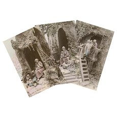 Happy Family Life Trio of Sculptochrome Postcards by Mastroianni 1912