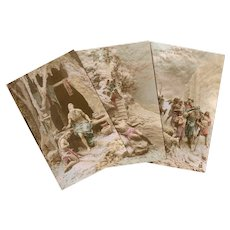 3 Sculptochrome Postcards 1913 Jacob and the Old Testament by Mastroianni