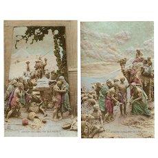 Two Joseph Old Testament Sculptochrome Postcards by Mastroianni 1913