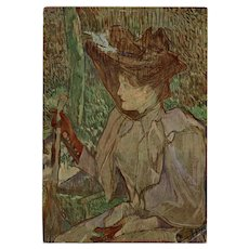 "Toulouse-Lautrec's ""Woman with Gloves"" 1965 French Advertising Postcard Unused"