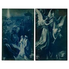 2 Blue Monochrome Christmas Postcards by Noyer of Paris c1920s