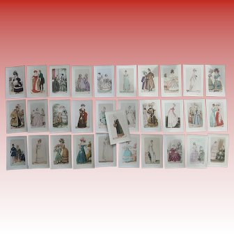 31 French Fashion Postcards Unused Near Mint Condition Haute Couture from 1810 to 1855