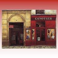 Paris Passageway, Postcard Shop and Men's Clothing Store by French Painter André Renoux Unused Vintage Postcard