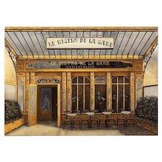 Art Nouveau Montparnesse Bistro by André Renoux Unused Artist Signed Vintage Postcard