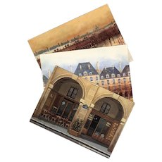 Place des Vosges Paris Oldest Square Three Vintage Unused Postcards by André Renoux