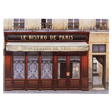 Le Bistro de Paris Storefront by French Painter André Renoux Unused Vintage Postcard
