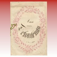 Art Nouveau French School Composition Notebook Dated 1856 Calligraphy and Numbers