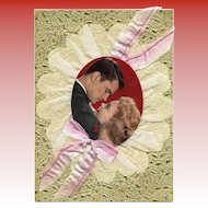 Huge Retro Romance Card Embossed with Ribbon and Fabric Original Packaging circa 1960s
