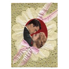 LAST CHANCE Huge Retro Romance Card Embossed with Ribbon and Fabric Original Packaging circa 1960s