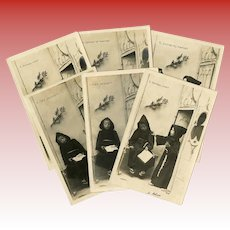 "Six 1903 Postcards Real Photo Children Portraying French Song ""Frère Jacques"""