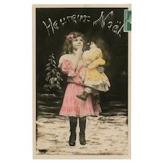 Edwardian Girl with Huge Doll French Christmas Postcard Franked 1908