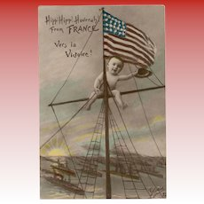 WWI French Postcard with Baby on Ship Mast with US Flag
