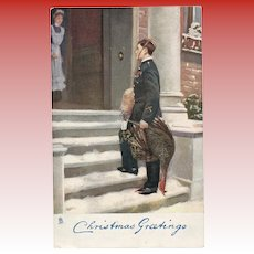 Antique Tuck's Christmas Postcard Soldier with Turkey