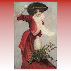 Snowball Throwing Lady in Red Tuck's Postcard Artist Signed Mary Horsfall