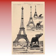 Unique Eiffel Tower with Elephant Sculpture Salesman Sample Card