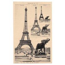Unique Eiffel Tower with Elephant Sculpture Salesman Sample Card