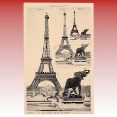 MAKE an OFFER: Unique Eiffel Tower with Elephant Sculpture Salesman Sample Card