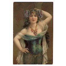 Exotic Beauty by Emile Vernon 1911 Postcard with Hungary Franking