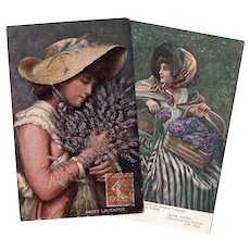 Violets and Lavender Two Antique European Art Postcards