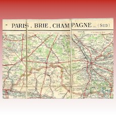 Canvas-Backed Taride Map of Paris, Brie and Champagne Regions
