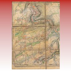 1876 Belgium War Department Topographic Canvas-Backed Map