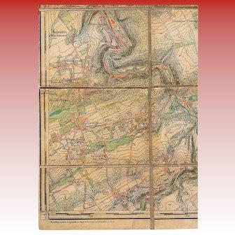 1876 Belgium War Department Topographic Canvas-Backed Map