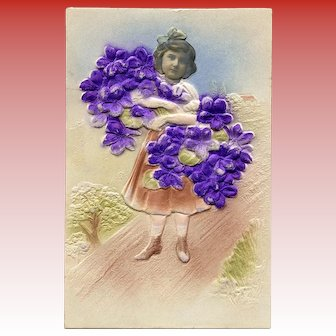 Embossed Kitschy Collage European Postcard of Girl with Violets