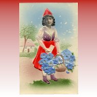 Embossed Kitschy Collage European Postcard of Girl with Forget-Me-Nots