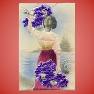 LAST CHANCE Embossed Kitschy Collage European Postcard of Woman with Violets