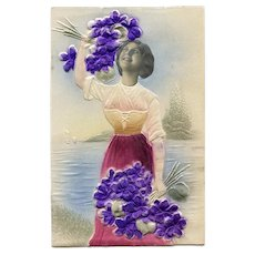 Embossed Kitschy Collage European Postcard of Woman with Violets
