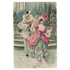 Pierrot and Lady with Mask Carnival Franked 1905 Embossed Chromolithographic Postcard