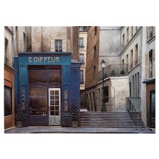 Paris Beauty Salon Coiffeur and Parfumerie by French Painter André Renoux Unused Vintage Postcard