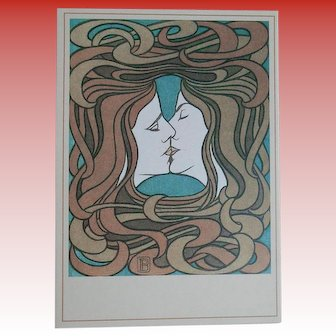 Vintage 1987 Art Postcard Reproduction of The Kiss by Peter Behrens