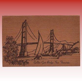 Novelty California Redwood Postcard San Francisco to France 1990