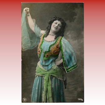 Ethnic Costume Gypsy Dancer Hand-Painted Real Photo Antique NPG Postcard
