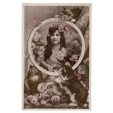 1908 French Montage Postcard Girl with Kittens and Flowers Hand-tinted