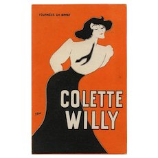 Colette Caricature by SEM Charles Baret Touring Theater Antique Belle Epoque Advertising Postcard