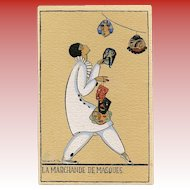 Mask Seller Art Deco Pierrot Postcard Size Art Print by French Illustrator Denise Millon