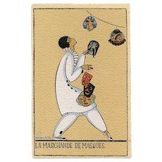 Mask Seller Art Deco Pierrot Postcard Size Pochoir Art Print by French Illustrator Denise Millon