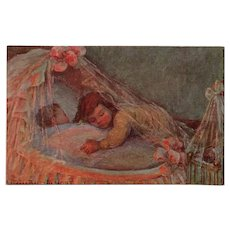 Child Hugging Sibling in Cradle by French Artist Ball-Demont Antique Postcard Unused