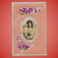 1906 Silk Embossed Montage Postcard with Real Photo Hand Painted
