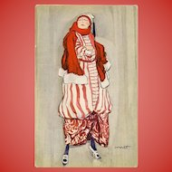 Lady in Red Art Deco Fashion Postcard by Italian Artist Corrati