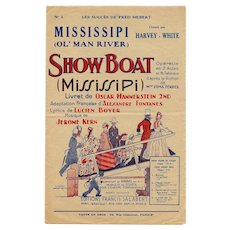 "1929 French Music Sheet for ""Ol Man River"" from Oscar Hammerstein's Broadway Musical ""Showboat"""
