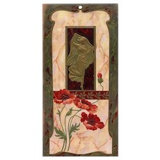 Gold Dancing Lady with Poppies Art Nouveau Embossed Wall Hanging