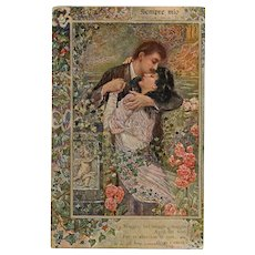 "1917 Romantic ""Always Yours"" Italian Art Nouveau Postcard with Cherub and Flowers"