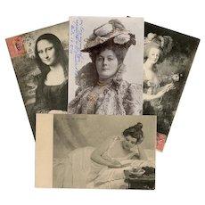 Four Antique European Postcards Mona Lisa Marie Antoinette